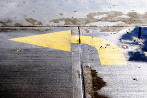 water pooling on asphalt