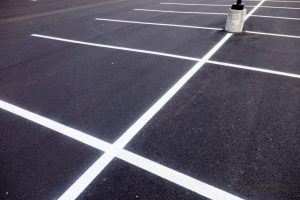 parking lot after slurry seal
